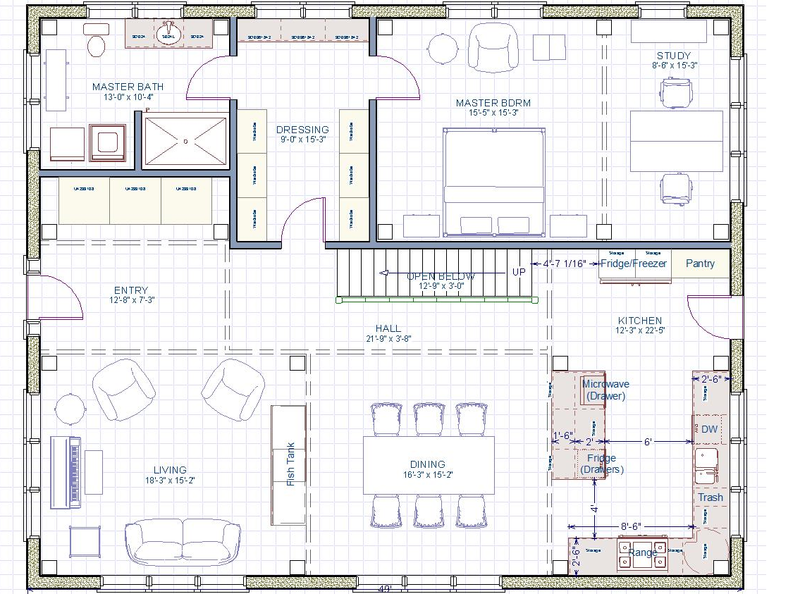 Please help with kitchen size and layout for 15 x 15 kitchen floor plans
