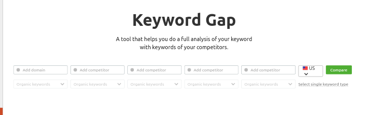 Semrush keyword gap