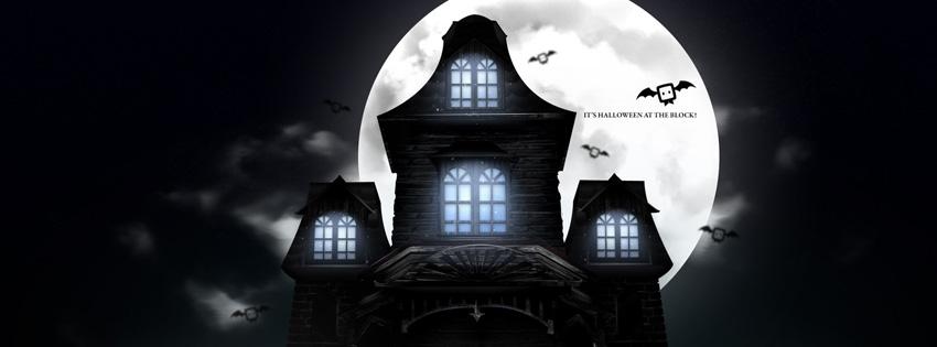 Ảnh bìa lâu đài kinh dị trong đêm tối