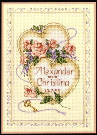 United Hearts Wedding Record cross stitch patterncross stitch pattern