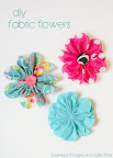 5 inch gathered fabric flower
