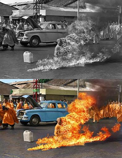 Виетнамски будистки монах - Най-известните исторически черно-бели фотографии в цвят