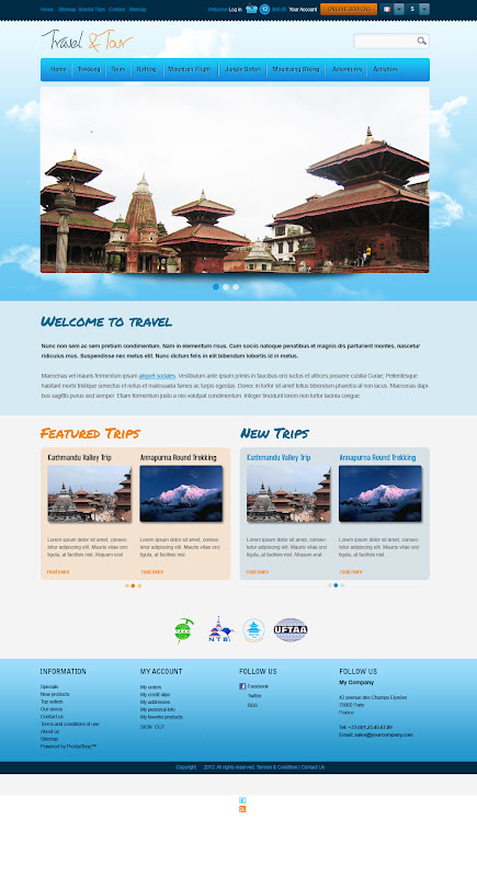 Home Page of Travel and Tour Web Template