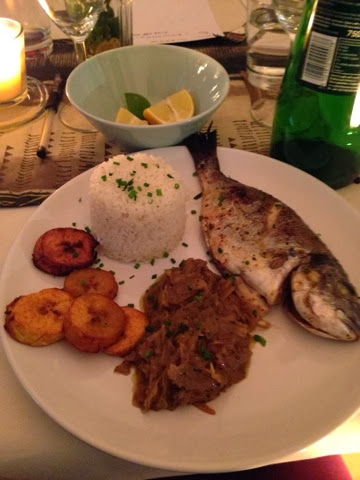Sea bream with Yassa onion sauce and fried plantain