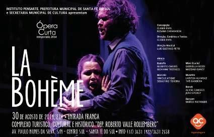 Sábado tem apresentação gratuita da ópera La Bohéme.