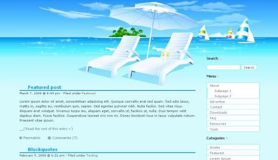Free Wordpress Bleu and Red 2 Columns Theme