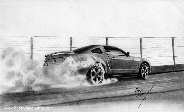 GT 500 Ford Mustang Car Drawing Art
