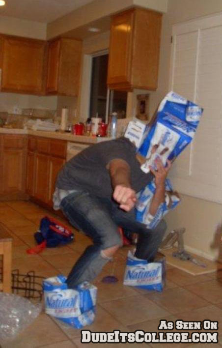 Guy wearing beer boxes