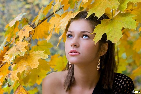 ảnh cô gái dưới tán lá mùa thu