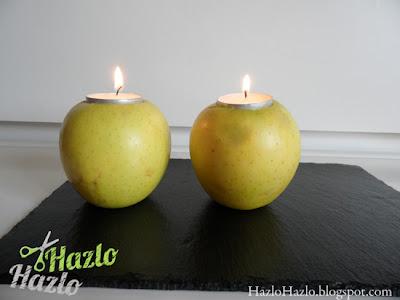 Cómo hacer candelabros con manzanas.