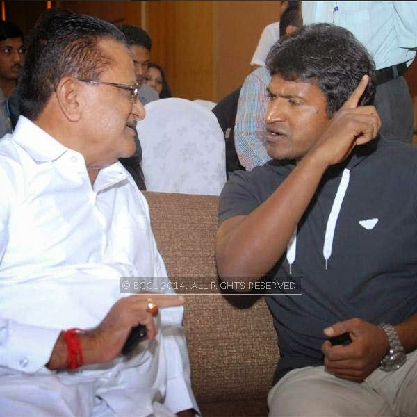 HD Gangaraju and Puneeth Rajkumar at the Power *** press meet held in Bangalore.