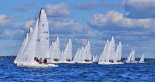 J/70s sailing in packs upwind at North Americans