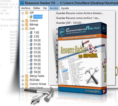 Resource Hacker FX 3.6.0.92 en ESPAÑOL