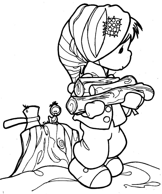 Child with wooden in winter precious moments coloring for Precious moments printable coloring pages