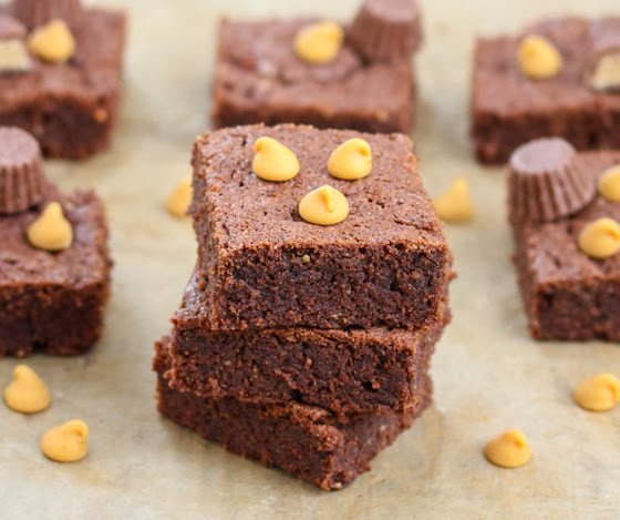 close-up photo of peanut butter brownies