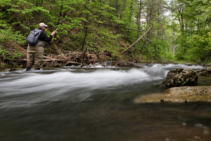 John Geer wading a stream in Virginia with tenkara
