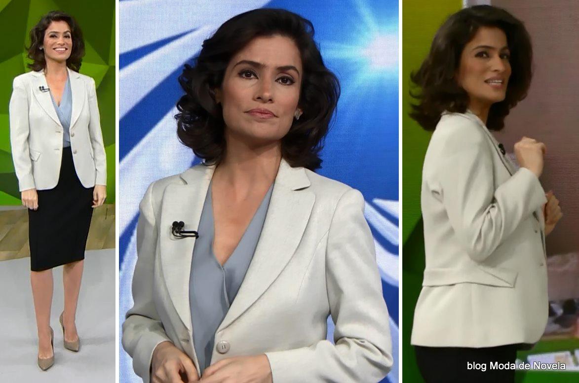 moda do programa Fantástico - look da Renata Vasconcellos dia 25 de maio