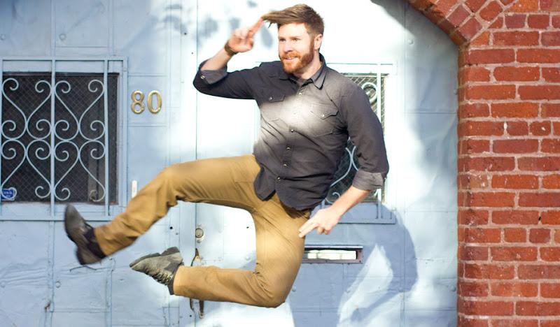 Khaki Moleskin Pants: Gabe jumps and salutes