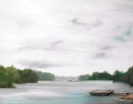 """Foggy Morning Missouri"" by artist Katherine Cuba. Oil. $325. Painted en plein air in Clarksville, MO."