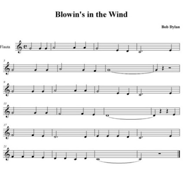 Partitura de Blowin in the Wind para Flauta muy fácil principiantes. Easy Sheet Music for Flute and Recorder Beginners