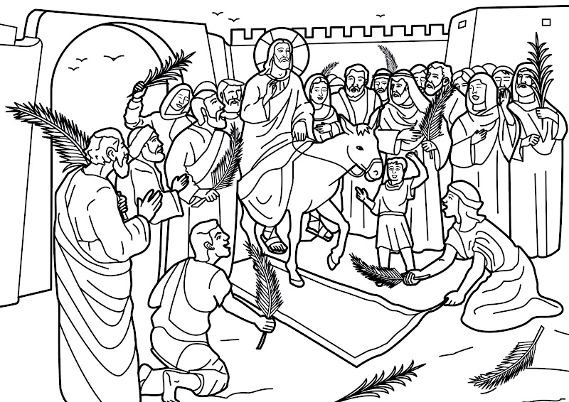 Entry of Jesus christ into Jerusalem coloring pages