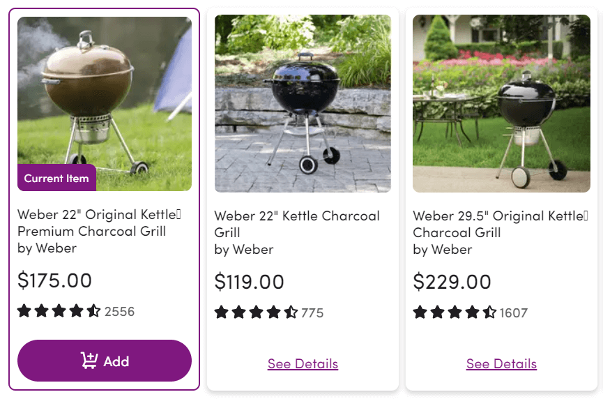 Three grills, one of which is cheaper and one of which is more expensive than the current viewed item.