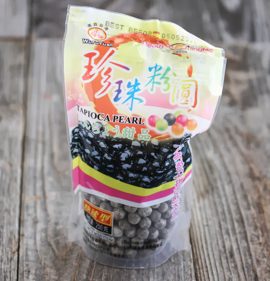 a package of brown tapioca pearls