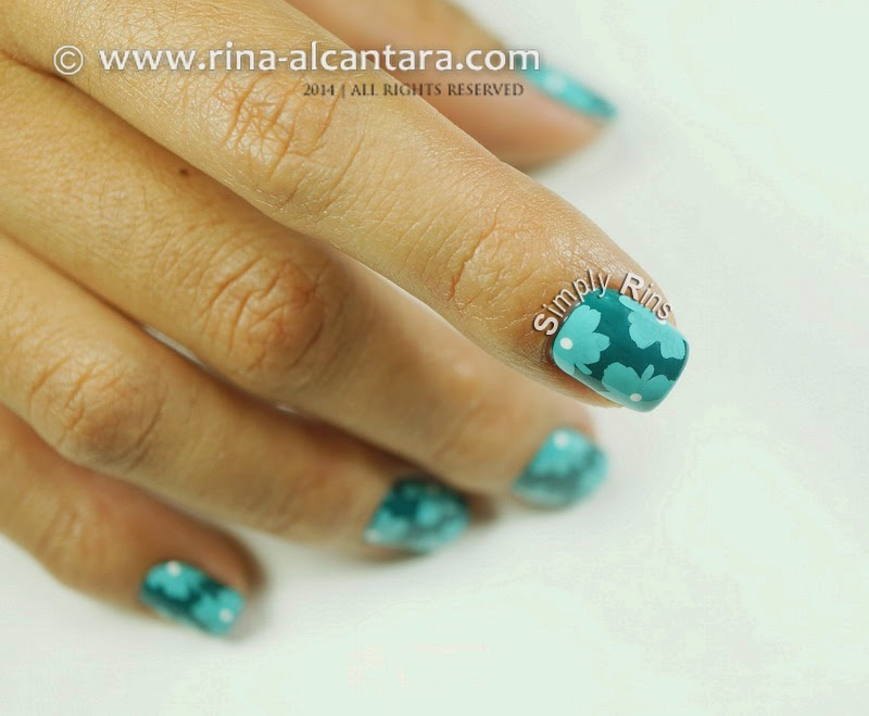 Teal-y Flowers Nail Art