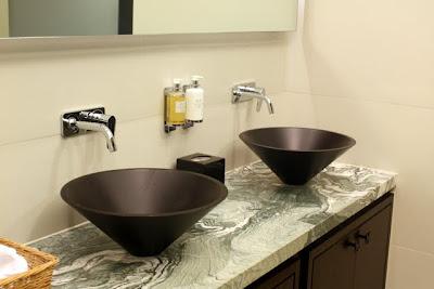 Bathrooms in the Langham Hotel spa in London
