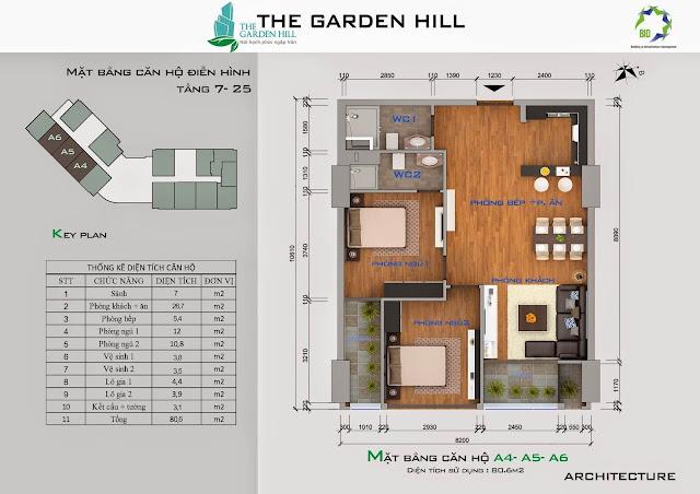 Căn A4, A5, A6 tầng 7 đến 25 garden Hill - 99 Trần Bình