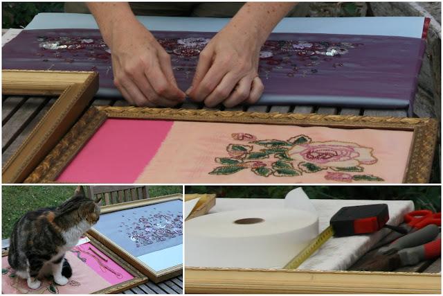 Préparation de l'exposition Arts et Créations (à Sorgues du 19 au 21 octobre 2012) : broderies de perles et paillettes au crochet de Lunéville