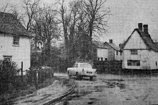 The Prince Regent pub (now Sycamore House restaurant), also showing now demolished cottage opposite, Hauxton Road, Little Shelford