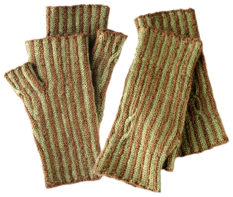 Green and brown fingerless gloves