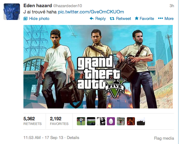 Eden Hazard Tweets picture of himself, Oscar & Juan Mata on the front of Grand Theft Auto Five