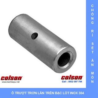 Bạc lót bánh xe đẩy có khóa càng inox chịu nhiệt Colson của Mỹ