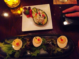 crab stuffed avocado and deviled eggs