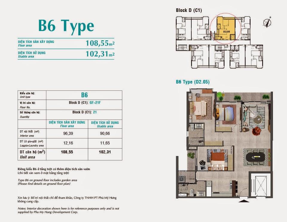 Căn hộ Scenic Valley Phú Mỹ Hưng, kiểu B6, 108.55m2 có thiết kế 3 phòng ngủ