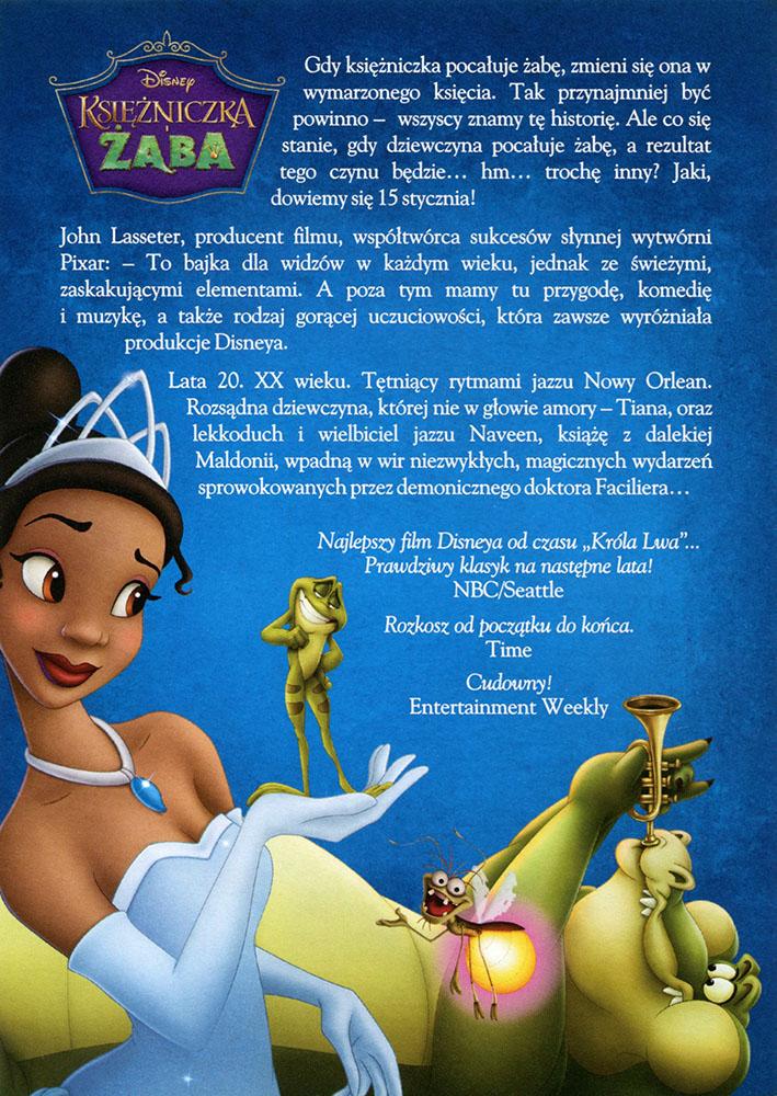 Ulotka filmu 'Księżniczka i Żaba (tył)'