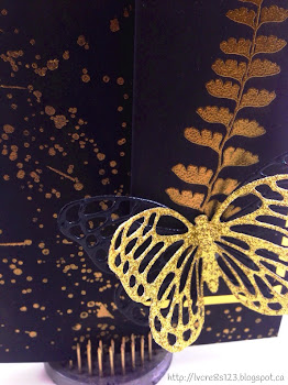 Linda Vich Creates: Gold, Grunge, Glitz and Two Charlenes. A bold and dramatic card that utilizes the Butterfly Thinlits from Stampin' Up! to create this card with a little bit of glitz and a little bit of grunge.