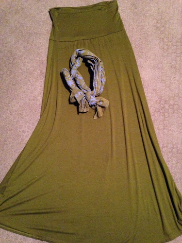Olive green maxi skirt, nest boutique