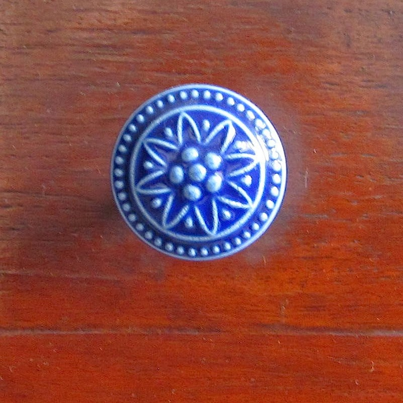 blue ceramic drawer pull