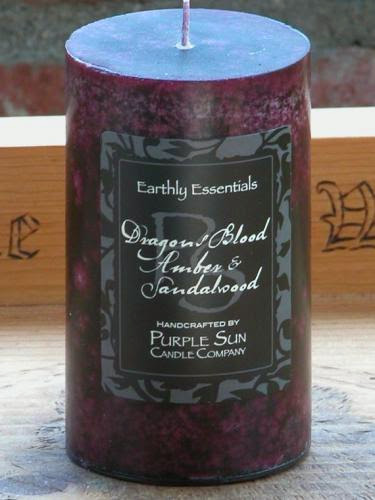 Dragons Blood Amber And Sandalwood Pillar Candle 2 5X6 For Protection Luck Clearing
