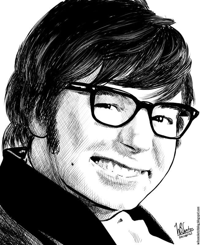Ink drawing of Austin Powers, using Krita 2.4.