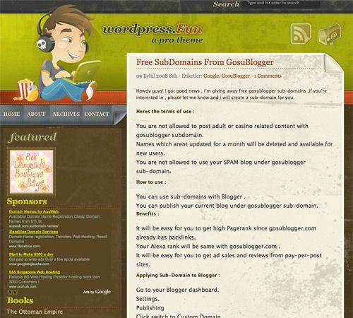WordPress Fun template blogger