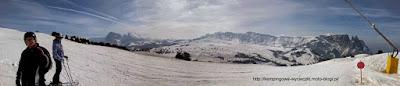 na zdjeciu panorama regionu w Dolomitach Alpe di Siusi (Seiser Alm)