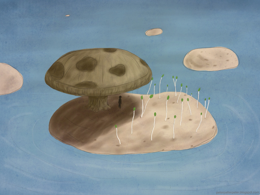 Mushroom potato sprout