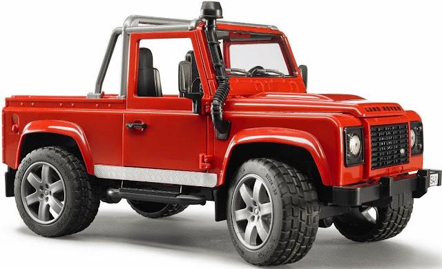 Mô hình Xe Jeep Land Rover Defender Pick Up Car màu đỏ thật khỏe khoắn và đẹp mắt