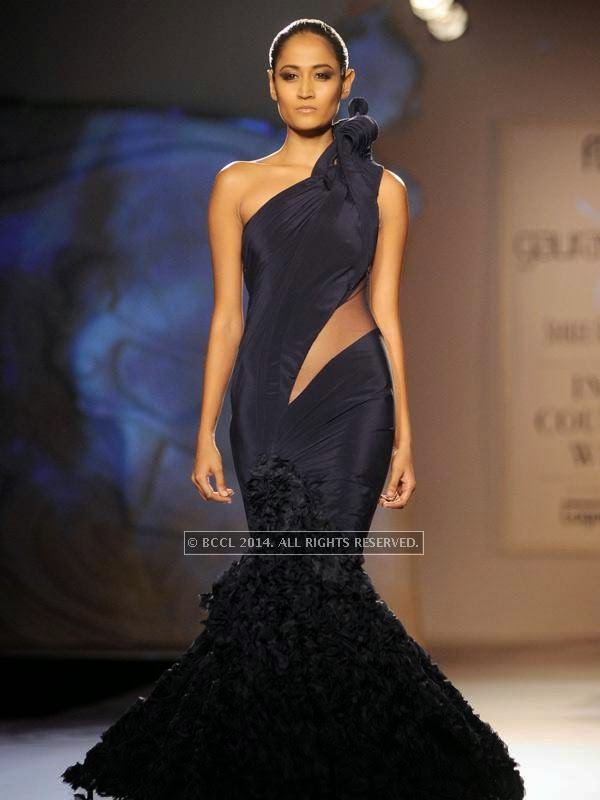 showcases a creation by designer Gaurab Gupta on Day 3 of India Couture Week, 2014, held at Taj Palace hotel, New Delhi.