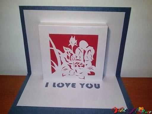 Thiệp 3d hoa hồng cho valentine