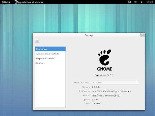 Gnome 3.6.1 su Arch Linux